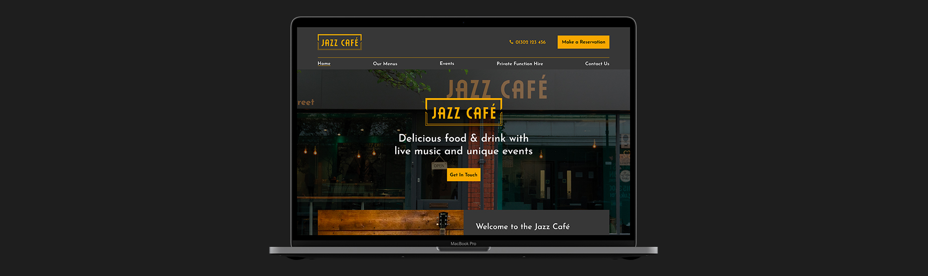 Jazz Cafe homepage design