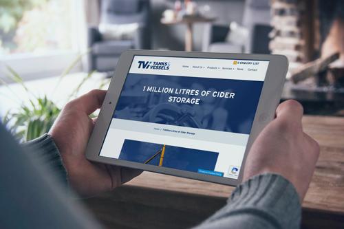Tanks and Vessels website design on tablet