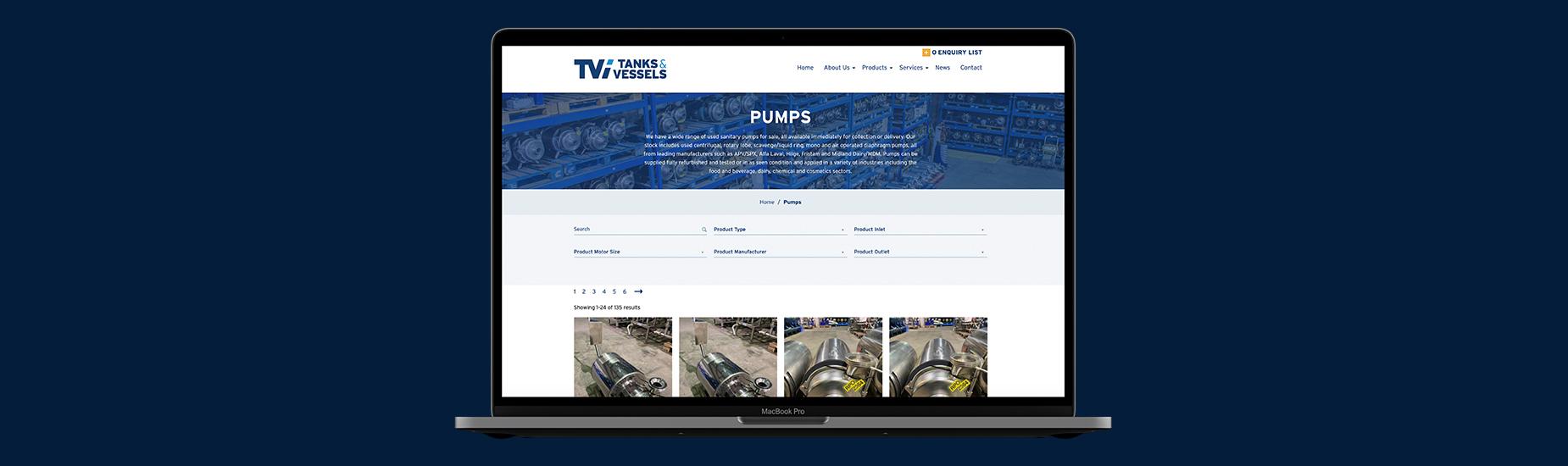 Tanks and Vessels website design on desktop